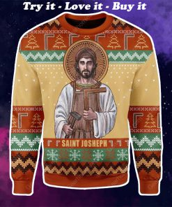 saint joseph the worker all over printed ugly christmas sweater