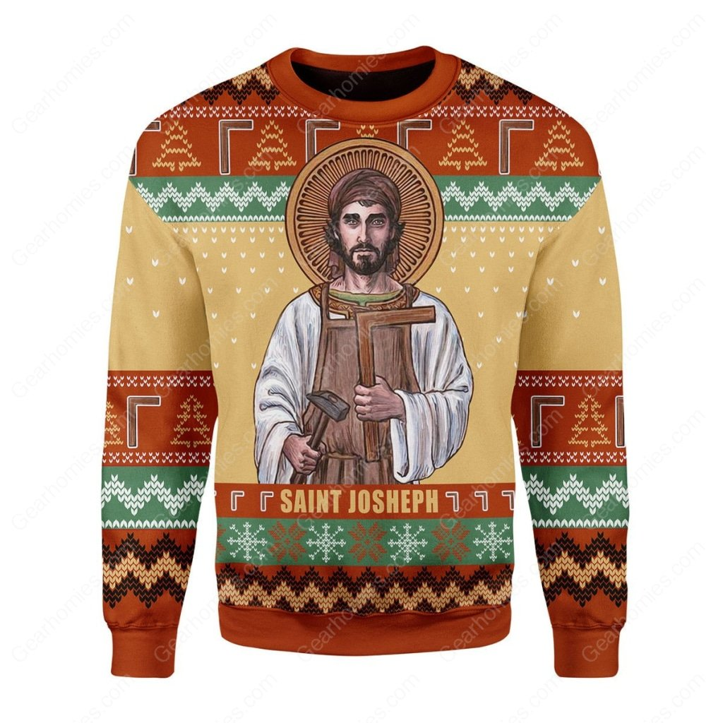 saint joseph the worker all over printed ugly christmas sweater 3