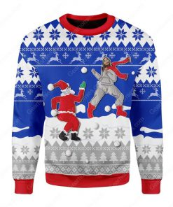 santa and Jesus play snowball all over printed ugly christmas sweater 2