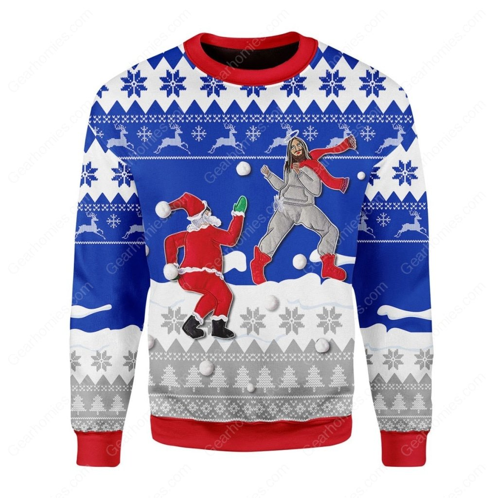 santa and Jesus play snowball all over printed ugly christmas sweater 3