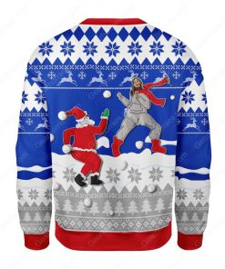 santa and Jesus play snowball all over printed ugly christmas sweater 4