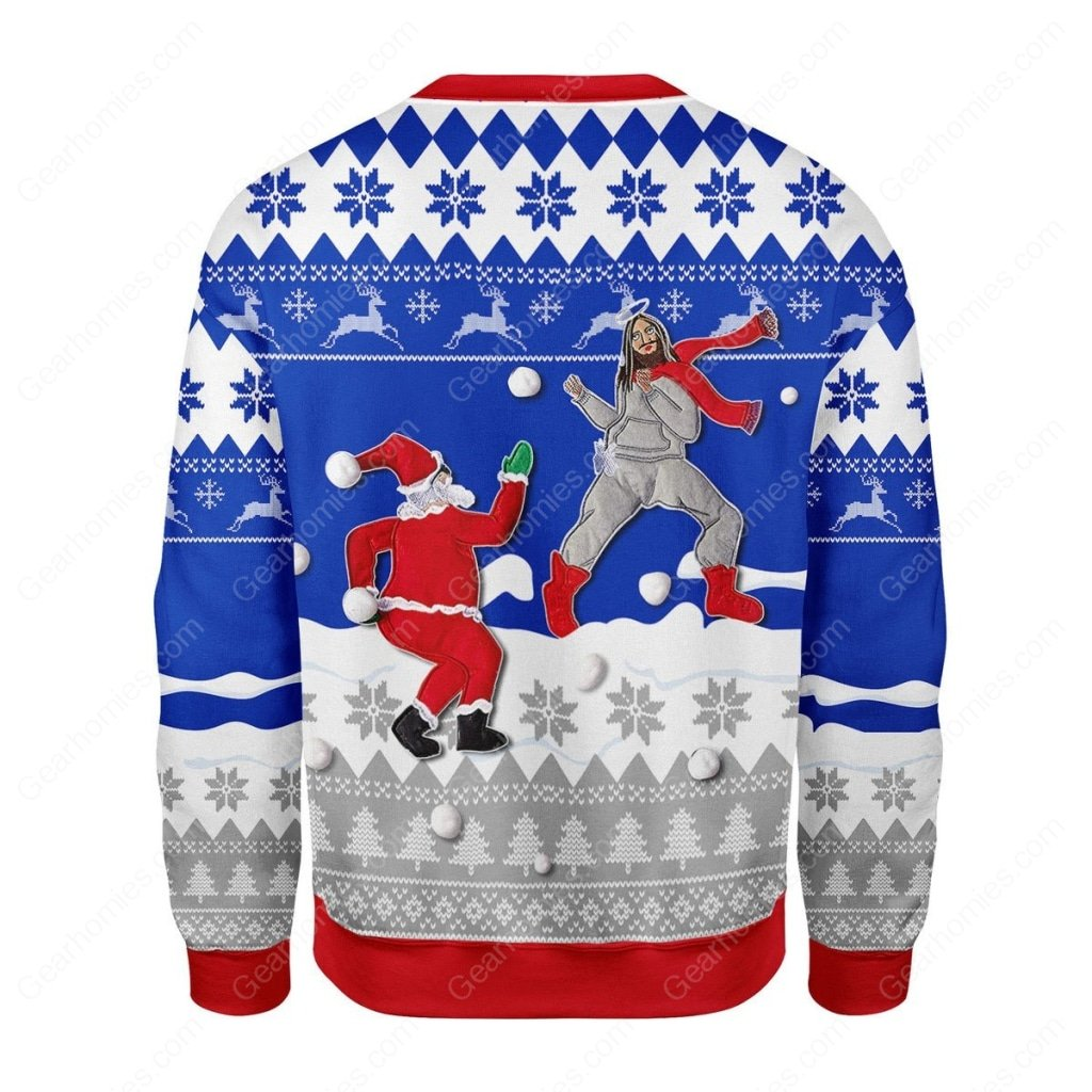 santa and Jesus play snowball all over printed ugly christmas sweater 5