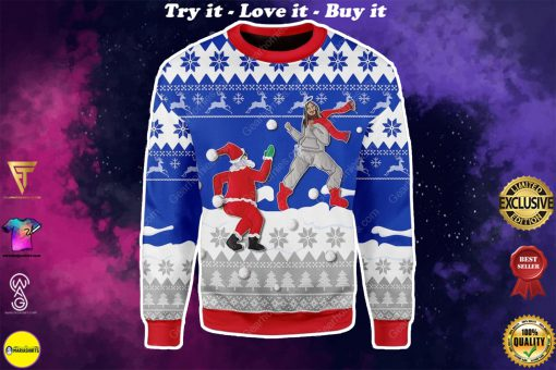 santa and Jesus play snowball all over printed ugly christmas sweater