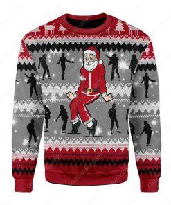 santa claus dancing michael jackson all over printed ugly christmas sweater 2