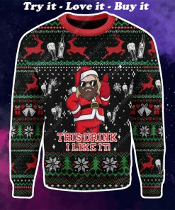 santa claus thor this drink i like it all over printed ugly christmas sweater