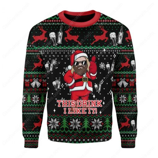 santa claus thor this drink i like it all over printed ugly christmas sweater 3