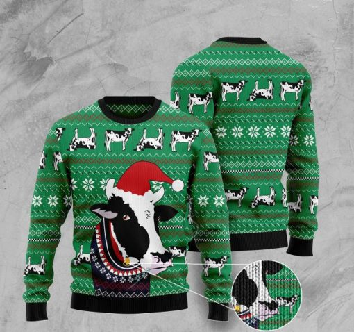 santa cow pattern full printing christmas ugly sweater 2
