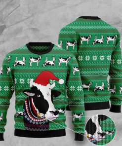santa cow pattern full printing christmas ugly sweater 2 - Copy