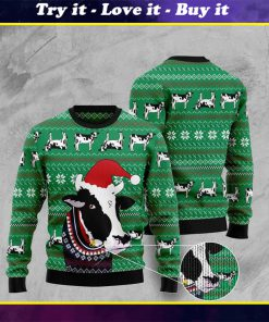 santa cow pattern full printing christmas ugly sweater
