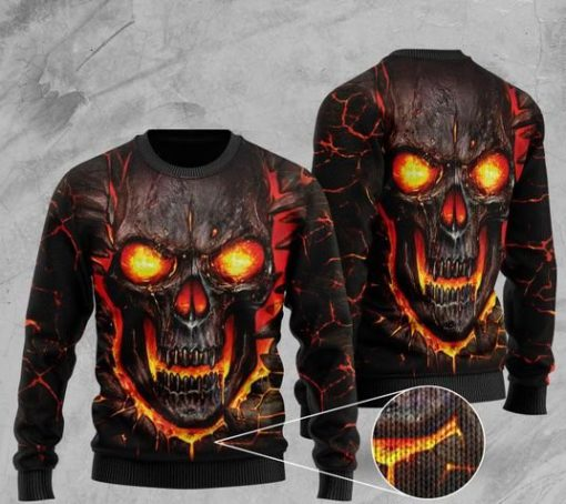 skull lava fire all over printed christmas ugly sweater 2
