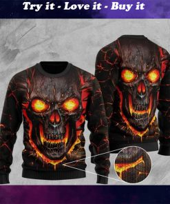 skull lava fire all over printed christmas ugly sweater
