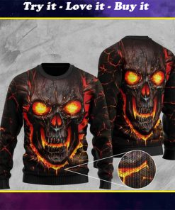 skull lava fire full printing christmas ugly sweater