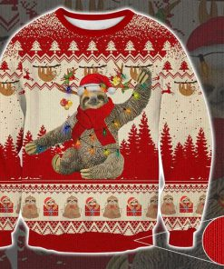 sloth with christmas light pattern full printing ugly sweater 2 - Copy