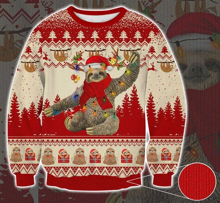 sloth with christmas light pattern full printing ugly sweater 2