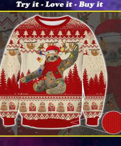 sloth with christmas light pattern full printing ugly sweater