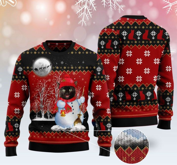 snowman cat pattern full printing christmas ugly sweater 2