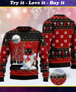 snowman cat pattern full printing christmas ugly sweater