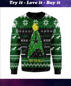 star trek trek the halls all over printed ugly christmas sweater