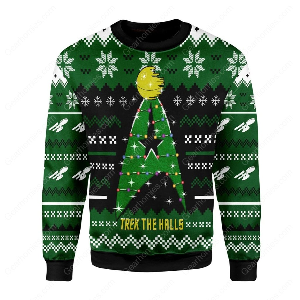 star trek trek the halls all over printed ugly christmas sweater 3