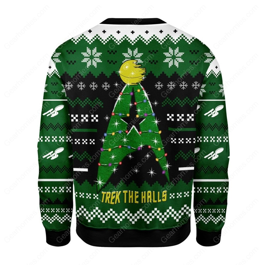 star trek trek the halls all over printed ugly christmas sweater 5