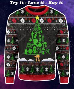 star wars christmas tree all over printed ugly christmas sweater