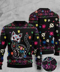 sugar skull cat pattern full printing christmas ugly sweater 2 - Copy