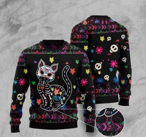 sugar skull cat pattern full printing christmas ugly sweater 2 - Copy (3)