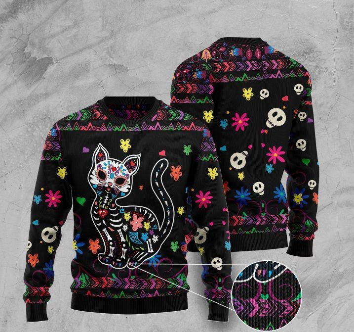 sugar skull cat pattern full printing christmas ugly sweater 2