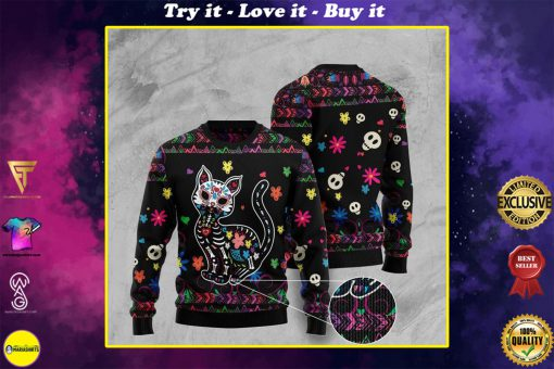 sugar skull cat pattern full printing christmas ugly sweater