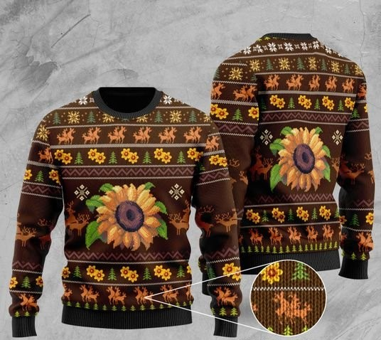 sunflower all over printed christmas ugly sweater 2