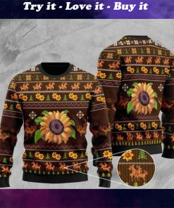sunflower all over printed christmas ugly sweater