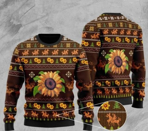 sunflower and deer pattern full printing christmas ugly sweater 2