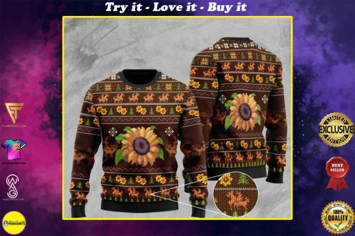 sunflower and deer pattern full printing christmas ugly sweater