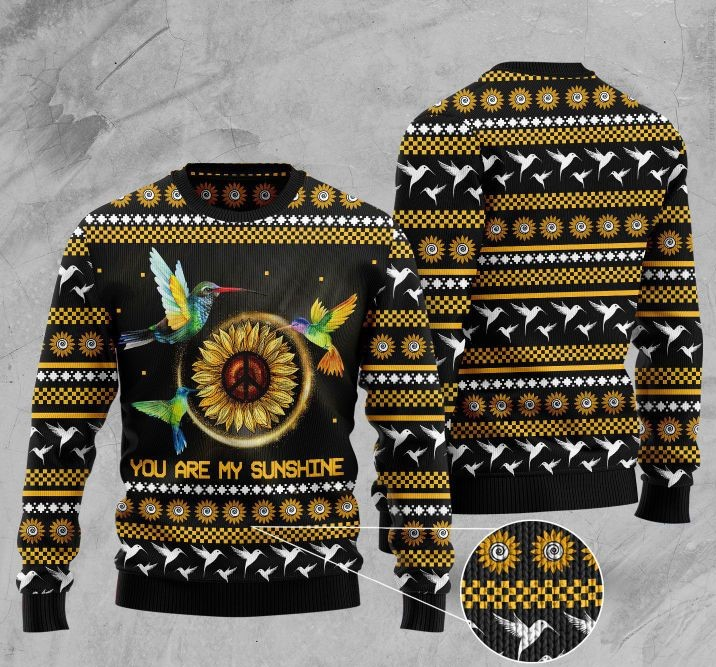 sunflower and hummingbird you are my sunshine pattern christmas ugly sweater 2 - Copy