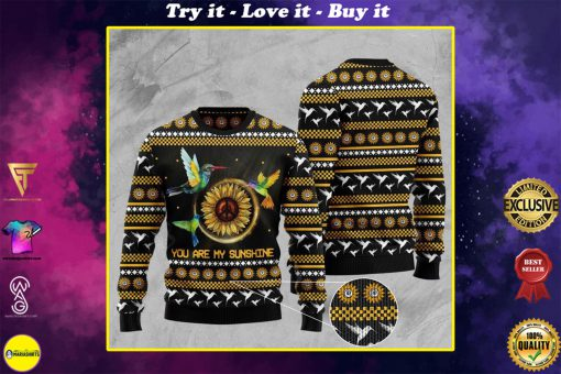 sunflower and hummingbird you are my sunshine pattern christmas ugly sweater