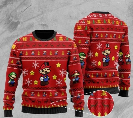 super mario all over printed christmas ugly sweater 2