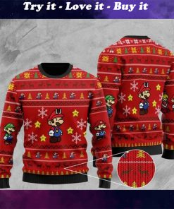 super mario all over printed christmas ugly sweater
