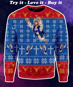 superman Jesus all over printed ugly christmas sweater