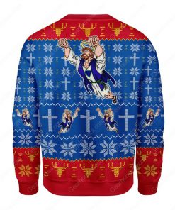 superman Jesus all over printed ugly christmas sweater 4