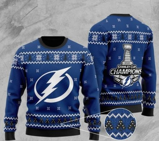 tampa bay lightning 2020 stanley cup champions christmas ugly sweater 2 - Copy
