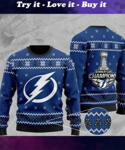 tampa bay lightning 2020 stanley cup champions christmas ugly sweater