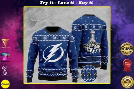 tampa bay lightning 2020 stanley cup champions full printing ugly sweater