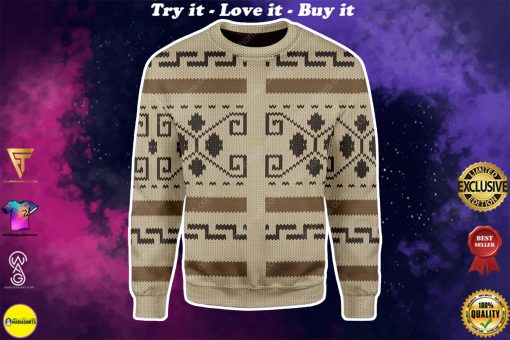 the big lebowski all over printed ugly christmas sweater