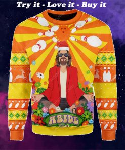 the big lebowski hippie all over printed ugly christmas sweater