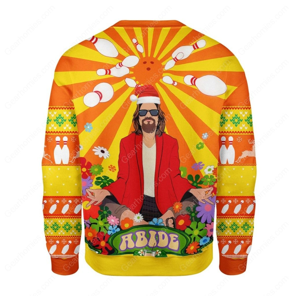 the big lebowski hippie all over printed ugly christmas sweater 4