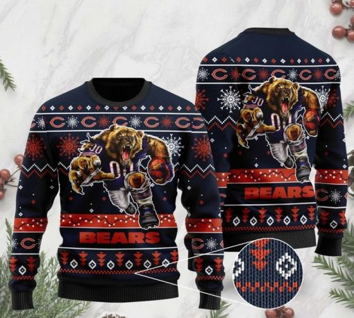 the chicago bears football team christmas ugly sweater 2