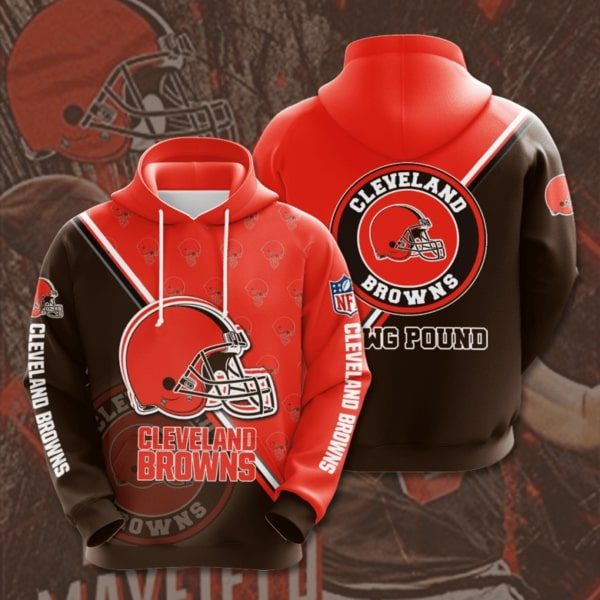 the cleveland browns football team full printing hoodie