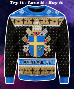 the coat of arms of pope john paul ii all over printed ugly christmas sweater