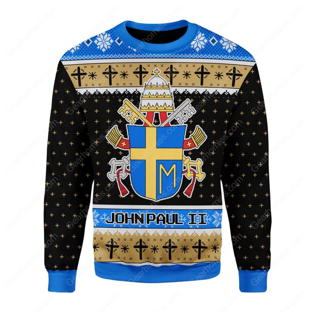 the coat of arms of pope john paul ii all over printed ugly christmas sweater 3