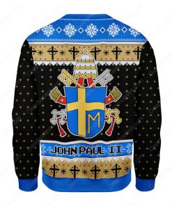 the coat of arms of pope john paul ii all over printed ugly christmas sweater 4